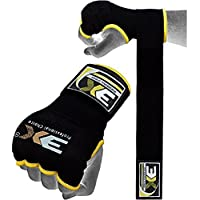 3guantes de deporte, gel, con sujeción envolvente, para boxeo, artes marciales, boxeo UFC, etc., color negro, tamaño mediano