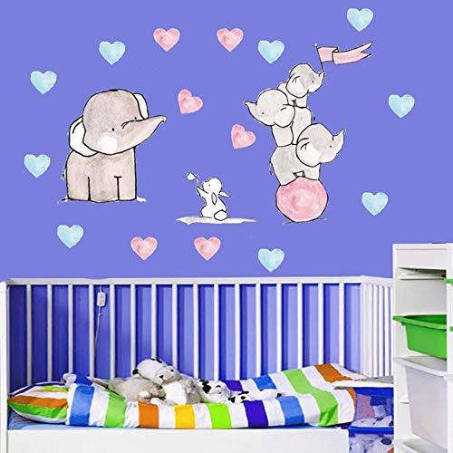 KLKL Elefant Kaninchen Wandaufkleber Nette Lustige Tier Muster Für Baby Room Wanddekorationen Wohnzimmer Kids20X60Cm -