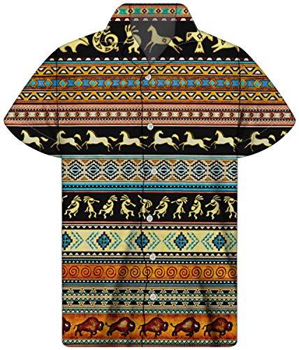 chaqlin Camisa de Manga Corta para Hombre Estilo Hawaiano con Botones Atrapasueños Caballo-5 M