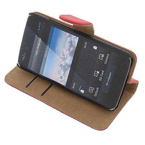 Tasche für Wiko Birdy Book Style rot Kreditkarte Schutz Hülle Buch