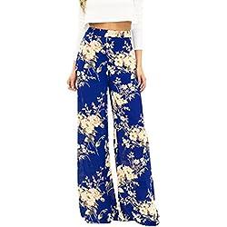 ZhuiKun Mujer Pantalones Holgados Estampado Floral Palazzo De Pierna Ancha Bohemio Hippie Ancho Pierna M