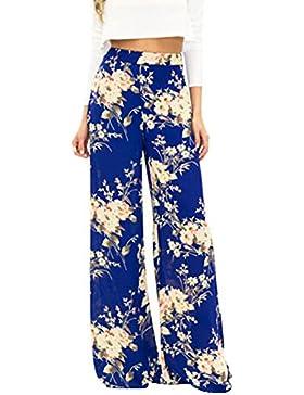 ZhuiKun Mujer Pantalones Holgados Estampado Floral Palazzo De Pierna Ancha Bohemio Hippie Ancho Pierna XL