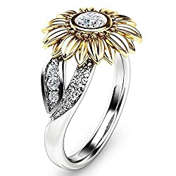 Lucaswang Sunflower Ring, Women Girls Diamond Sunflower Crystal Rings Engagement Wedding Band Ring Jewelry Set (Us Size: 7, Yellow)