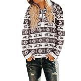 TianWlio Weihnachten Pullover Langarmshirt Bluse Hoodie Frauen Herbst Winter Weihnachten mit Kapuze Sweatshirt Mantel Winter Warme Wolle Reißverschlusstaschen Outwear (L, Kaffee)