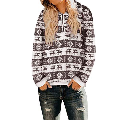 ITISME FRAUEN BLUSE Frauen Weihnachten Kapuzenpulli Mantel Winter Warme Wolle Reißverschluss Taschen ()