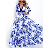 Cxlyq Kleider Große V-Ausschnitt Print Mode Kleid Langen Rock