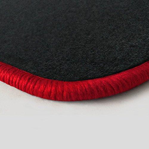 (Randfarbe nach Wahl) Passgenaue Fußmatten aus Nadelfilz Graphit mit rotem Rand (103) (Fußmatten Corvette C5)