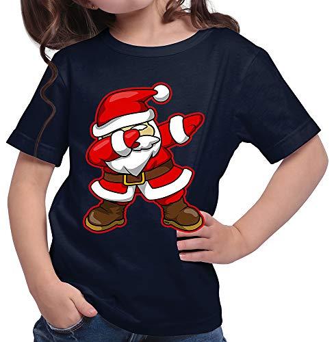 HARIZ  Mädchen T-Shirt Dab Weihnachtsmann Nikolaus Weihnachten Dab Teenager Dance Weihnachten Inkl. Geschenk Karte Deep Navy Blau 116/5-6 Jahre