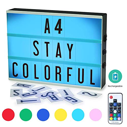 Größe 7 Farben Ferngesteuerte LED-Rechargeble Light Box mit 181 Buchstaben, eingebaute Battery DIY Light Box für Hochzeit, Halloween, Chrismas, Dorm Room Decorations. ()