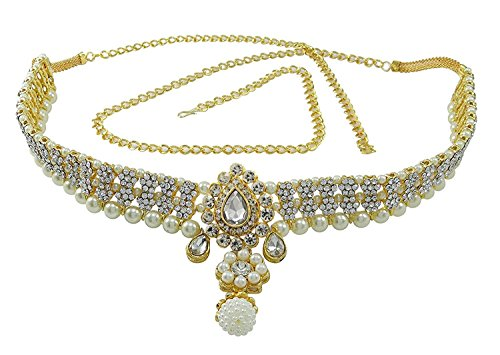 Pink City Gold Plated Metal Kamar Bandh / Ruby Belly Chain For Women