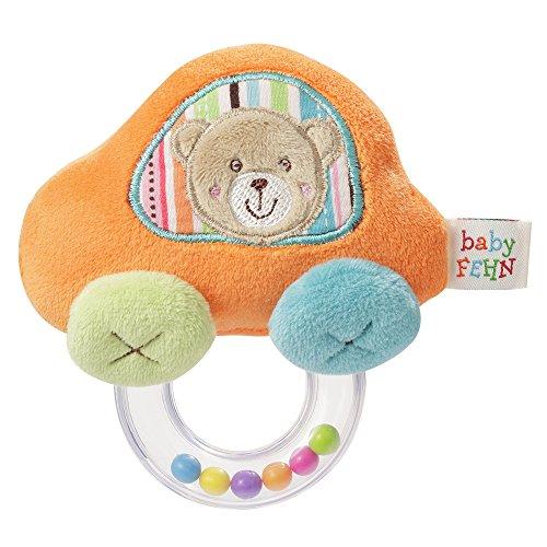 Fehn 091182 Rasselring Auto / Greifling zum Rasseln, Fühlen, Spielen mit kuschelweichem Stoff-Auto, für Babys und Kleinkinder ab 0+ Monaten