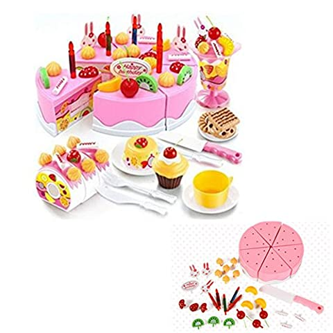 Locisne Filles Kids 75Pcs Bricolage Cutting Birthday Cake Dessert Pretend