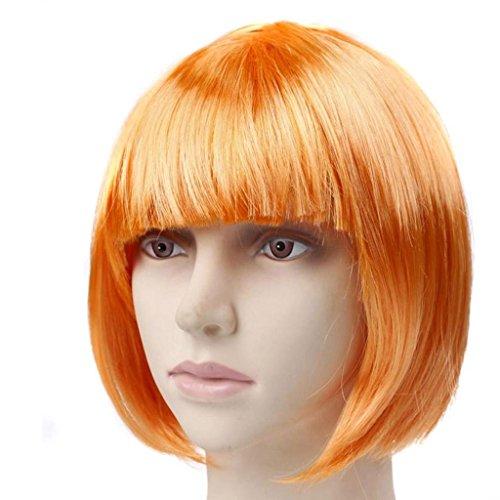 MFFACAI Damen Girl's Cosplay Kurz Synthetische BOB Haar Perücken Halloween Party mit Fransen Fancy Dress (eine Größe), orange Student Hair (Halloween Anime Girl Dress Up)