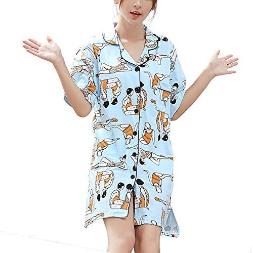 Kleid New Summer Nachthemd Fashion Pyjama Baumwolle Loser Hemd Kragen Halbarm Spa Home Urlaub Kleidung ()