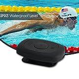 IPX8 Wasserdicht Mp3 mit wasserdichten Ohrhörer Hi-Fi Sound Musik-Player Unterstützung FM Radio, Schrittzähler mit Clip mit wasserdichtem Kopfhörer mit Ohrhaken für Schwimmen, Laufen und andere Sportarten (8 GB Flash Memory Schwarz)