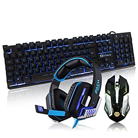 Gaming Headset Kopfhörer USB 7.1 Surround Sound Version CF Vibration mit Mikrofon LED-Licht + LED-Backlit Tastatur 3 Farben Hinter Licht USB Gaming Tastatur (Deutsch Layout) + LED Optische USB Verkabelt Gaming-Maus für PC
