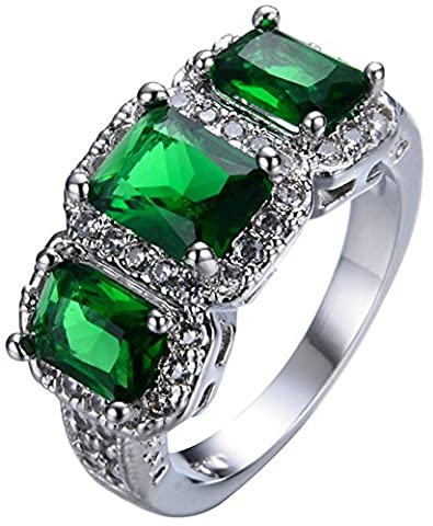 SaySure White Gold Filled Emerald Anniversary Wedding & Engagement Ring