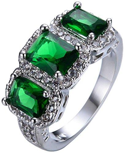 SaySure White Gold Filled Emerald Anniversary Wedding & Engagement Ring (Rose Gold-emerald-cut-ringe)