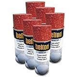 Belton - 6 botes de spray de efecto granito rojo de 0,4 l