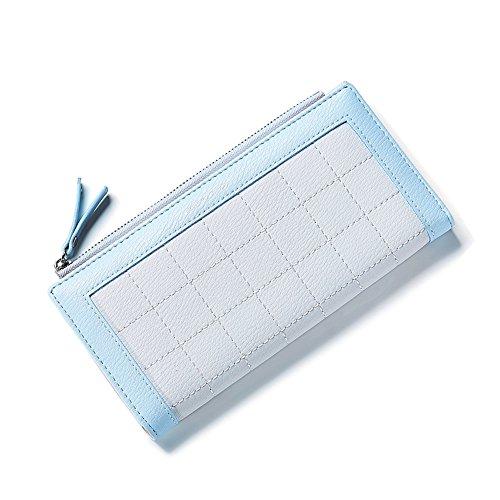 Portafoglio Donna - Borse in pelle di Cuoio delle Donne in PU borse Portafoglio Portafoglio Lungo in Lana Frizione (Rosa) Blu