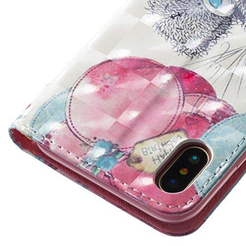 Per iphone X Cover Libro Portafoglio ,OYIME Custodia in Pelle Disegno 3D Glitter Lusso Elegante Originale Antiurto Antiscivolo Antigraffio con Cordino Porta Carta Credito e Chiusura Magnetica Interno  Orso Grigio