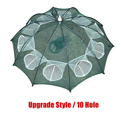 HATCHMATIC Upgrade 4-20 Löcher Automatische Fischnetz Verstärkter Faltbare Shrimp Cage Nylon Crab Fish Trap Cast Net Folding Fishing Network: Upgrade 10 Löcher -