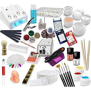 EuBeCos Nagelset Starterset Nagelstudio Nagelfräser UV Lampe Farbgele Nailart EuBeCos (630 mit Lampe und Fräser)