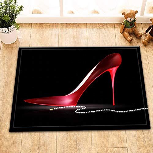 gwregdfbcv Damen rote schöne hohe Absätze auf schwarzem Hintergrund weiße Perlen-Halsketten-Badezimmer-Tür-Matten-Rutschfester Boden-Inneneingangs-Matten-Kind 40X60CM Zusätze