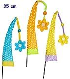 1 Stück: KLEINE - Windfahne / Balifahne - bunte Punkte - mit Fahnenstange - Windrichtungsanzeige - aus Nylon / Flagge Windrichtungsanzeiger - für Außen - Bali Gartenfahne - Gebetsfahne Umbul Umbulfahne - Dekofahne - Asiafahne