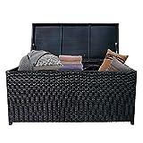 HENGMEI Rattan Auflagenbox Garten Kissenbox Gartenbox 115 x 55 x 57 cm Gartentruhe Aufbewahrungsbox bis 150 kg belastbar