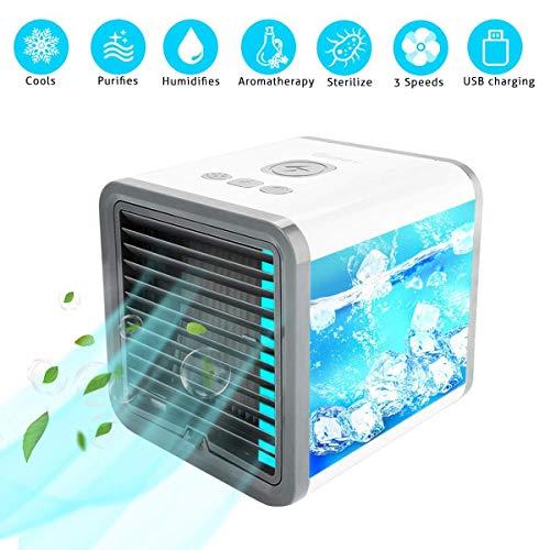 G Yang 3in1 Mini Air Cooler, USB Klimagerät 3 in 1 Raumluftkühler | Mobile Klimaanlage | Luftkühler | Aircooler | Klimagerät Klima tragbar mit 3 Leistungsstufen&7 Farben LED-Licht