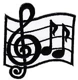 Écusson thermocollant/à coudre Motif portée avec notes de musique