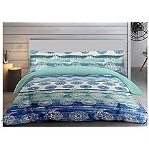 """ADP Home - Funda nórdica, juego de 3 piezas """"aquamanda"""" (funda de almohada, bajera ajustable y funda nórdica), diseño único, cama de 135 cm"""