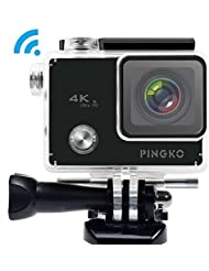 PINGKO Sports 4K WIFI Action Camera,2.0 Inch High Light LED Screen 12MP 1080P HD 170 Degree Wide Angle Lens Sony IMX078 Sensor Gyro Stabilizer for