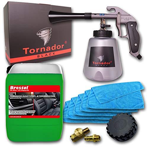 Preisvergleich Produktbild Tornador Black Z-020S gebrauchsfertiger Kunststoff- & Lederreinigungsset 5 Liter + 5x Mikrofasertuch Universaltuch Kunststoffreiniger Lederreiniger Kunstlederreiniger Echtlederreiniger Plastikreiniger