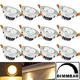 Hengda® 12er Pack 3W LED Einbauleuchte Set Geringe Einbautiefe Dimmbar Warmweiß Beleuchtung Deckenleuchten 230V Anschluss Einbauspots, Sparlampe Energiesparlampe