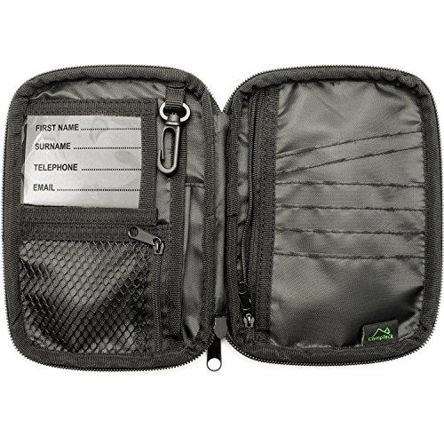 CampTeck U6750 Klein Reisepass Tasche Passhülle Brieftasche & RFID Organisieren Hülle für Kreditkarten, Ausweise, Dokumente, Geld, Tickets, Schlüssel, Smartphone usw. - Schwarz - Tasche Brieftasche