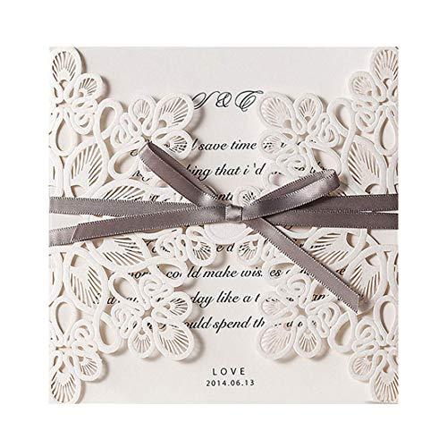 Wishmade 20x partecipazioni di nozze cartoline taglio a laser con farfalla e vuoti floreali inclusi adesivo e buste