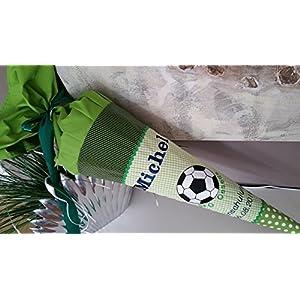 #108 Fussball grün Schultüte Stoff + Papprohling + als Kissen verwendbar