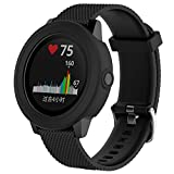 Soft Silicone Protector Case for Garmin Vivoactive 3 GPS Smartwatch, Replacement Accessories Band Cover Shock-proof and Shatter-resistant Protective Sleeve (Black)