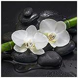 levandeo Glasbild 30 x 30 cm Wandbild Glas Orchideen Bambus Steine Dekoration