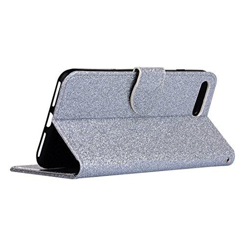 Hülle für iPhone 7 plus , Schutzhülle Für iPhone 7 Plus Glitter Powder Leder Tasche mit Halter & Wallet & Card Slots ,hülle für iPhone 7 plus , case for iphone 7 plus ( Color : White ) Silver