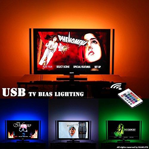 LED TV Hintergrundbeleuchtung für 32-60 Zoll Fernseher Beleuchtung TV Stimmungslicht mit IR Fernbedienung, 20 Farben, USB LED Streifen (Usb-tv-fernbedienung)