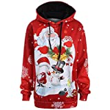 TWIFER Damen Christmas Pullover Weihnachtsmann Schneemann Hoodies Sweatershirt Sweater