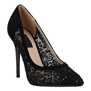 Elegante Damen Schuhe Pumps High Heels Businessschuhe Leder-Optik 157109 Schwarz Black Spitze 39 Flandell