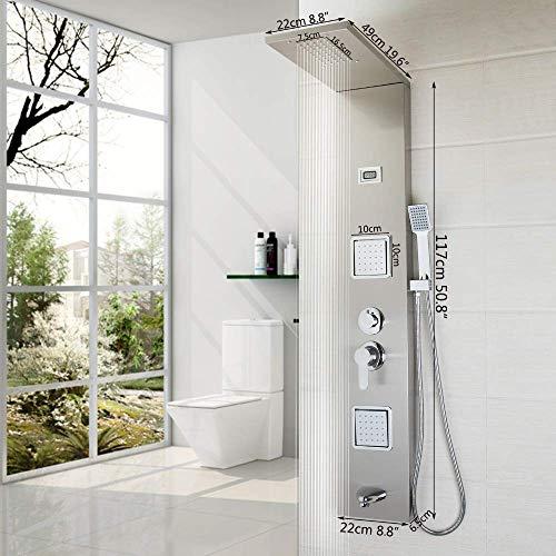 XZ Home Bad Edelstahl Duschsäule Wandmontage Einhand + Handbrause + Wanneneinlauf + Massagesystem Duschpaneel,A