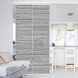 Bilderwelten Schiebegardinen Set - Holzwand mit Schmalen Leisten schwarz weiß - 2 Flächenvorhänge, Aufhängungssystem: Deckenhalterung, Größe HxB: 250 x 120cm (2 Flächenvorhänge á 250 x 60cm)