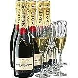 Moet & Chandon Brut Champagner Imperial Set mit Geschenkverpackung mit 6 Gläser (6 x 0.75l)