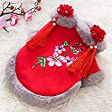 Lovely Dog Tang Costume Blessing Pet Winter Coat Happy New Year Cheongsam Qipao Dresses Cat Peony Design Clothes For dog pets (Color : E, Size : M)