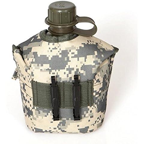 Koly 1 Pc camuflaje de EE.UU. excursión que acampa al aire libre militar del Ejército Deportes Agua Pot (E)